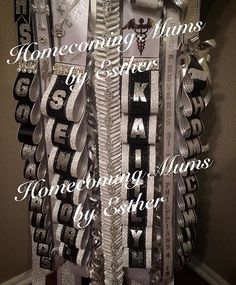 https://m.facebook.com/Homecoming-Mums-by-Esther-273602849493591/  Texas White, black and silver Senior mum. Bling and jewels