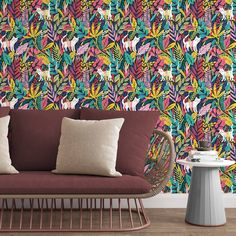 White Cats Removable Wallpaper, Jungle Leaf Pattern Wall Mural, Multicolor Pastel Wall Cling, Nature Peel and Stick, Animal Wall Decor - Canvas Wall Decal / 1 roll: 24W x 72H