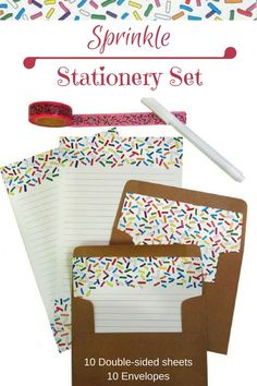 """Stationery set, """"Sprinkle"""" pattern, double-sided paper and matching envelopes #ad #stationery #giftforher"""