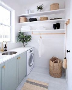 Outstanding Small Laundry Room Storage Design Ideas That Looks Awesome - Do you dread doing laundry? Are the piles growing out of control? Putting it off won't make it go away. Let's face it - dirty laundry is a fact of lif. Laundry Room Shelves, Laundry Room Layouts, Laundry Room Remodel, Laundry Decor, Laundry Room Organization, Laundry In Bathroom, Basement Laundry, Organization Ideas, Laundry Area