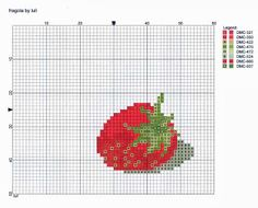 cuisine - kitchen - fraise - point de croix-cross stitch - broderie-embroidery- Blog : http://broderiemimie44.canalblog.com/