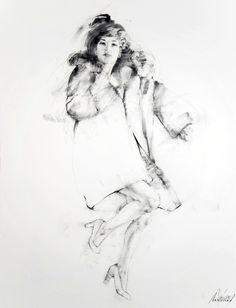 "Saatchi Art Artist: Charles Malinsky; Graphite Drawing ""The Black Coat Project - The New York Sessions - Jennifer"""