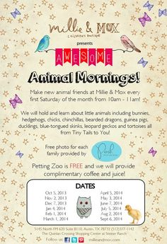 Free Fun in Austin: Free Animal Mornings at Millie & Mox. At Quinlan Shopping Center in STeiner Ranch.
