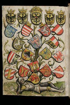 Livre héraldique d'Ulrich Rösch. On reconnaît le blason des Montfaucon de gueule à 2 bars or.