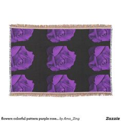 flowers colorful pattern purple rose geometric throw blanket