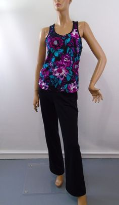 36b4699705 FILA Sport Suit Fitness Activewear Jersey Black Floral Top Sz M Pant Sz L   FilaSport