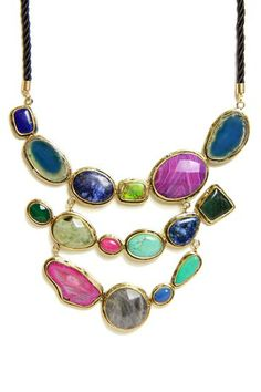 Triple Layer Agate Statement Necklace by Saachi