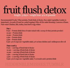 fruit flush detox. Did this the weeks before my wedding when I had a back injury & couldn't exercise. It works.