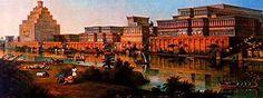 [Painting of Nineveh capital of Ashur ca 700 BC]