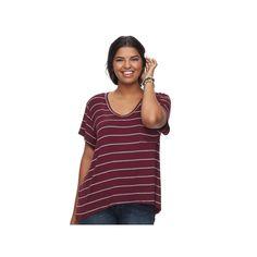 Juniors' Plus Size SO® Scoopneck Tee, Teens, Size: 2XL, Dark Pink
