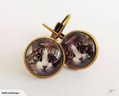 Peering Cat - Bronze Dome Earrings | Trade Me