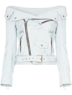 Faith Connexion off-shoulder Leather Biker Jacket - Farfetch Punk Fashion, Girl Fashion, Fashion Outfits, Fashion Design, Lolita Fashion, Style Fashion, Walk In Wardrobe, Cute Skirts, Dress To Impress