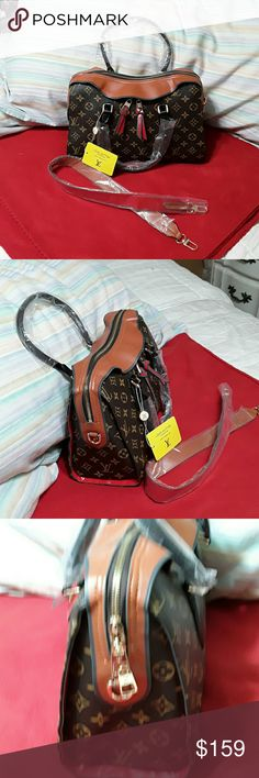 Mustard brown hand bag NEW..... MONOGRAM PU.......MUSTARD BROWN FAUX LEATHER TRIM. GOLD HARDWARE. ZIPPERED MAIN OPENING WITH WITH 3 OPEN POCKETS INSIDE.  HAS A HIDDEND ZIPPERED POCKET UNDER FRONT OUTSIDE FLAP.    HAS A STRAP WITH A 12 INCH DROP.  Bag is 13x8x5 inches. Zimilar to TUILERIES BAG....... Bags
