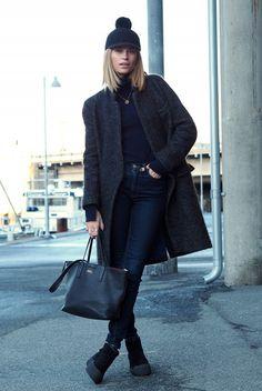 fall / winter - street style - street chic style - casual outfits  - fall outfits - winter outfits - black pom pom cap + dark grey coat + black turtleneck top + dark denim skinny jeans + black flat booties + black tote