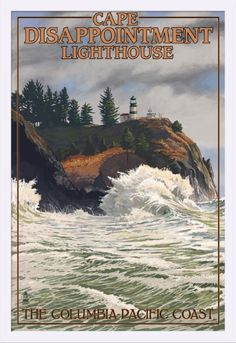 The Columbia-Pacific Coast, Washington - Cape Disappointment Lighthouse - Lantern Press Artwork (24x36 Giclee Art Print, Gallery Framed, White Wood), Multi