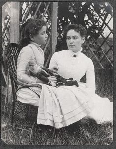 "Annie Sullivan is one of my heroes. In this picture (1888), Helen Keller is 8. Annie is probably in her early 20s. If you have not read/seen ""The Miracle Worker,"" do it now!"