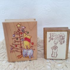 Winnie the Pooh - Christmas - Rubber Stamp - card making - Holiday Happiness  - bargain wood stamp - Reindeer stamp - buy one or both & save by TheWhatNaught on Etsy
