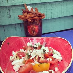Watermelon & Feta salad with sweet potato fries #lunchtime in #Bath @absurdbirduk #BecomingTheRubins #HenWeekend