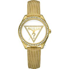 GUESS Mini Triangle Crystal Beige Leather Strap  Μοντέλο: W70015L1  Τιμή: 102€  http://www.oroloi.gr/product_info.php?products_id=20441