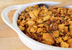 Sage + Chorizo Stuffing, except I used pork apple sausage, and it was ...