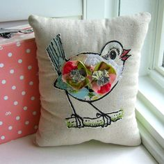 Bird pillow, stuffed bird,  fabric scrap pillow, appliqued animal pillow, appliqued pillow, ruffle pillow, art pillow, fabric bird - No. 154 (Etsy -- LOVE her shop!)