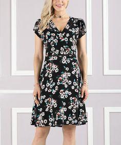 Black Floral Wrap Dress - Plus Too
