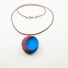 Amarantowy niebieski księżyc - FornirArt Pendant Necklace, Jewelry, Jewels, Schmuck, Jewerly, Jewelery, Jewlery, Drop Necklace, Fine Jewelry