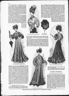 Short jacket with lineair Art Nouveau decoration, above, and evening gown in Japanese style, middle right. Oriental style and Art Nouveau were overlapping in this period.   (visit site for bigger picture)  Gracieuse. Geïllustreerde Aglaja, 1907, aflevering 12, pagina 156