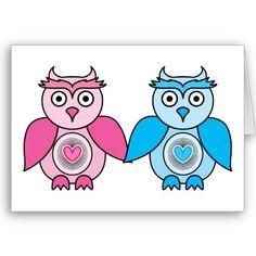 Kawaii Valentines Owls Greeting Card $3.35