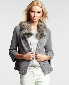 Ann Taylor - AT Petite Sweaters - Petite Faux Fur Collar Sweater Jacket