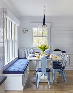 """Beach Cottage with Crisp and Fresh Coastal Interiors - """"Kitchen Nook Banquette"""" - Interior Design Fans Dining Nook, Dining Room Design, Beach Dining Room, Dining Bench, Nook Table, Table Bench, Dining Sets, Dining Tables, Outdoor Dining"""