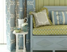Swedish Collection By fabric designer Vanessa Arbuthnott. Every one of our luxury designer fabric collections tell a story. Vanessa Arbuthnott, Room Interior, Interior Design, Wooden Sofa, Fabric Wallpaper, Wallpaper Furniture, Seat Pads, Colour Schemes, Room Set