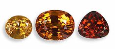 (Nigerian Spessartite Garnet) Most expensive is  the bright, rich slightly reddish-orange at right, but what is most beautiful is an individual choice.