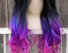Black, purple, and pink ombre