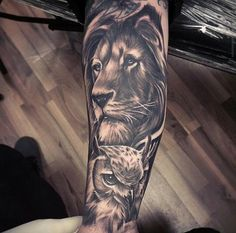 Lion / Owl tattoo