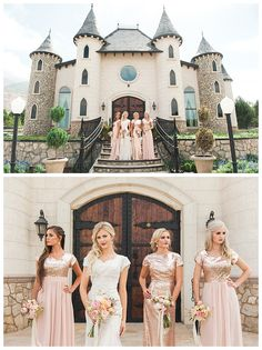 Glittery modest bridesmaid dresses in rose gold by LatterDayBride and Prom   LDS Bride Blog   Gateway Bridal & Prom   Home of the LatterDayBride Collection   Salt Lake City   Utah Bridal Shop   Worldwide Shipping
