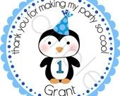 Winter ONEderland Birthday Penguin Personalized Stickers - Party Favor Labels, Address Labels, Baby Shower - Choice of Size and Colors