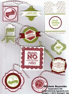 Handmade gift tags for Christmas using Stampin' Up! Christmas Tagables and Endless Wishes Photopolymer Sets and Pop & Place Holiday Gift Tags Book.