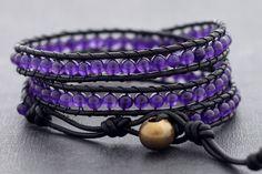 Leather Wrap Beaded Amethyst Bracelet par XtraVirgin sur Etsy, $19.00