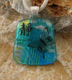Green Glass Pendant Fused Glass Pendant Image Pendant by GlassCat, $28.00
