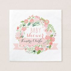 PRETTY FLORAL WREATH BABY SHOWER NAPKINS