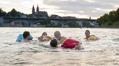 swimming in rhine in basel using float bags - Google Search