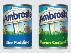 "'Ambrosia' is a well-known brand in the UK. Its original 1917 product was a dried milk powder for infants,but is most famous for its custard & rice pudding.The brand plays on the fact that it is made in Devon (at a factory in Lifton),w/ their original,well-known strapline ""Devon knows how they make it so creamy"".Just prior to the World War 2,the Ambrosia creamery was the first to start making creamed rice pudding ready in a tin and the majority of production was placed in Red Cross food…"