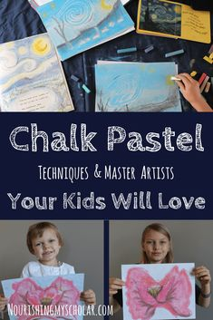 Chalk Pastel Techniques and Master Artists Your Kids Will Love: Chalk Pastels makes it easy for children to explore master artists like Van Gogh, Monet, and O'Keefe while also incorporating simple chalk pastel techniques! via Nourishing My Scholar Chalk Pastel Art, Chalk Pastels, Chalk Art, Easy Art For Kids, Art Lessons For Kids, Art Curriculum, Collage, Process Art, Teaching Art