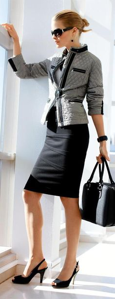 Quilt blazier, pencil skirt makes for a clean line.  Luv!