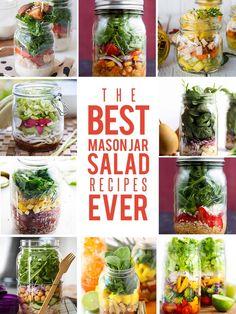 Mason Jar Salad recipes - 30 Salad in a Jar Recipes. Mason Jar Lunch, Mason Jars, Mason Jar Meals, Meals In A Jar, Mason Jar Recipes, Healthy Salads, Healthy Eating, Healthy Recipes, Bariatric Recipes