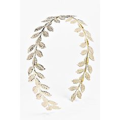 Boohoo Beatrice Leaf Metal Headband ($10) ❤ liked on Polyvore featuring accessories, hair accessories, gold, knotted headband, floral crown, chain headwrap, headband hair accessories and floral hair accessories