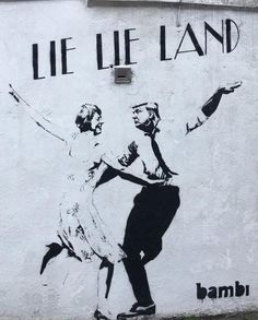 Lie Lie Land - Theresa May and Donald Trump - Sketch sprayed in Cross Street, Islington by Bambi - Nearly 2 Million Britons sign petition calling for US President's state visit to be cancelled ...