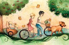 Róth Anikó munkája Tandem, Sport Bikes, Hobbit, Ankara, Bicycle, Snoopy, Painting, Fictional Characters, Art