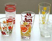 Mixed Set of 6 Vintage Juice Glasses TheCozyOldFarmhouse on Etsy